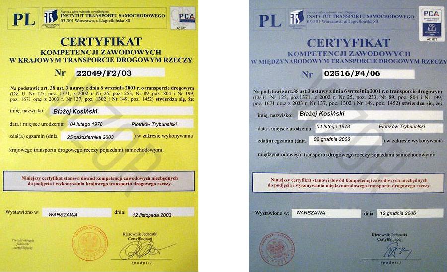 Certyfikaty kompetencji STARTRANS